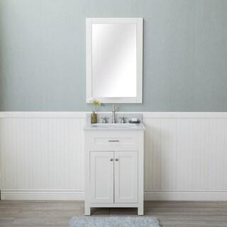 Alya Bath Norwalk White 24-inch Single Bathroom Vanity With Carrara Marble Top