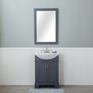 Alya Bath Lancaster Grey 24-inch Single Bathroom Vanity With Porcelain Top and Centerset Sink