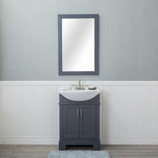 Alya Bath Lancaster Grey 24-inch Single Bathroom Vanity With Porcelain Top and Centerset Sink