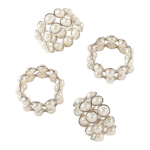 Faux Pearl Beaded Design Event Napkin Ring - Set of 4