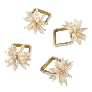 Faux Pearl Flower Design Event Napkin Ring - Set of 4