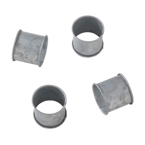 Galvanized Design Rustic Modern Style Metal Napkin Ring - Set of 4