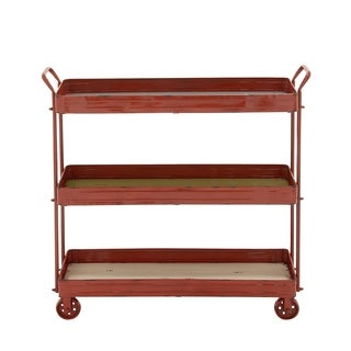 Farmhouse 35 x 36 Inch Red Iron 3-Tiered Wheeled Cart by Studio 350