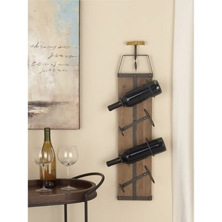 Farmhouse 32 x 8 Inch Wood and Iron Wall Wine Rack by Studio 350