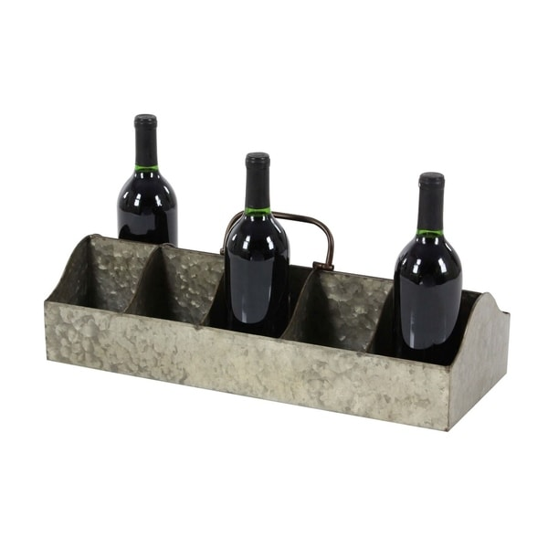 Studio 350 Metal Galvinized Wine Holder 20 inches wide, 7 inches high