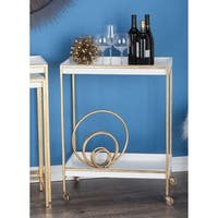 Studio 350 White and Goldtone Metal and Wood Tea Cart