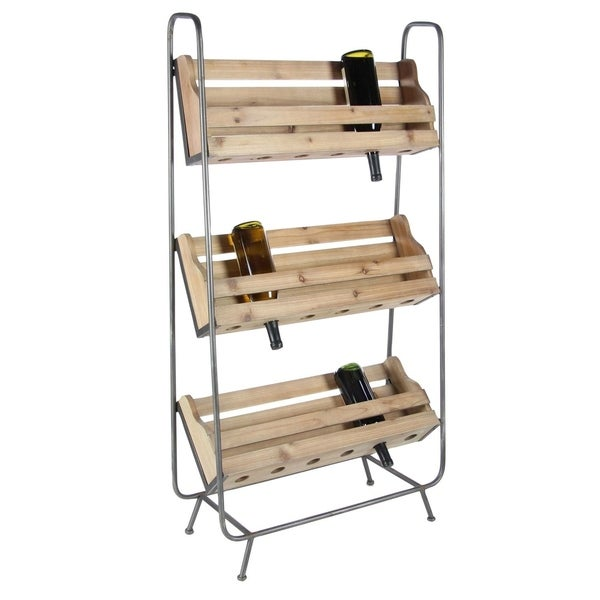 Studio 350 Brown Wood and Metal Wine Rack