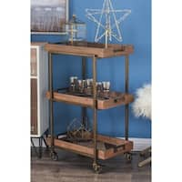 Studio 350 Brown Wood and Metal 3-tier Cart