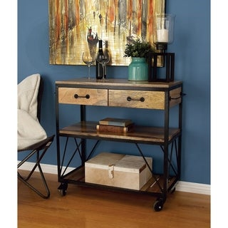 Studio 350 Metal Wood Serving Cart 38 inches wide, 34 inches high
