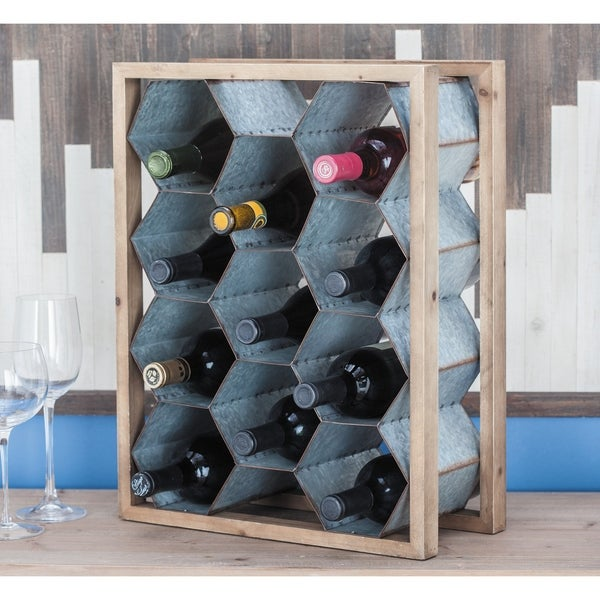 Modern 15 x 20 Inch Gray Wood and Metal Wine Holder by Studio 350