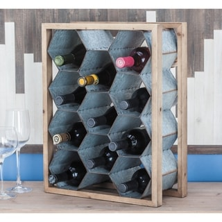 Studio 350 Wood Metal Wine Holder 20 inches wide, 15 inches high