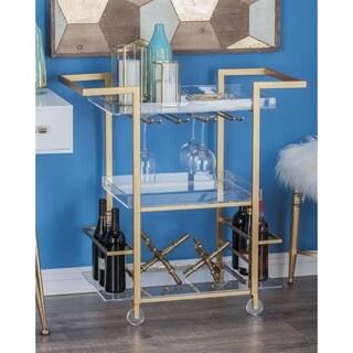 Studio 350 Modern Reflections Gold-finished Iron/ Acrylic Rectangular Wheeled Wine Cart