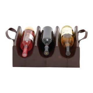 Studio 350 Wood Real Leather Wine Holder 15 inches wide, 5 inches high