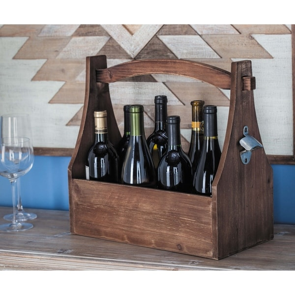 Farmhouse 15 x 16 Inch 8-Bottle Wine Holder with Opener by Studio 350