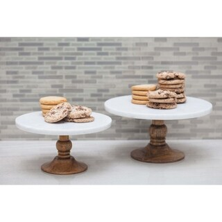 Studio 350 Wood Marble Cake Stand 10 inches wide, 5 inches high