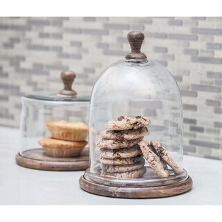 Farmhouse 11 x 8 Inch Dome-Shaped Wood and Glass Cloche by Studio 350 - N/A