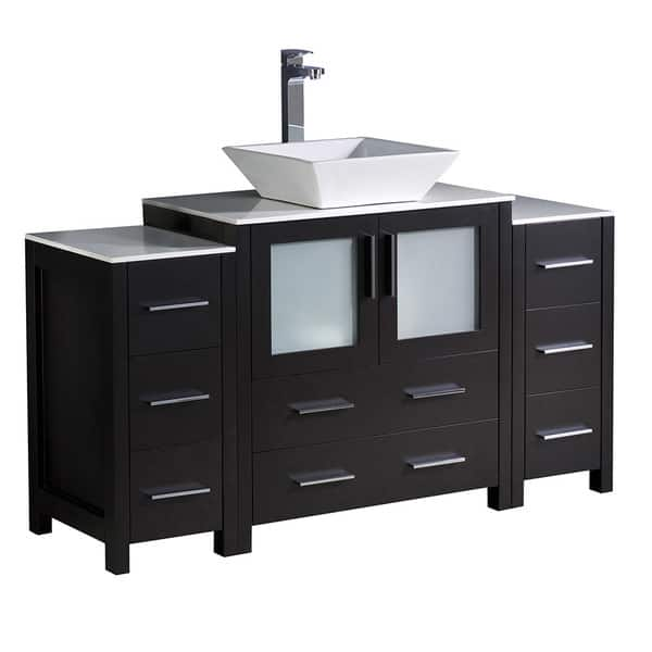 Fresca Torino Modern Espresso 54 Inch Bathroom Vanity With Top And Vessel Sink Overstock 17616772