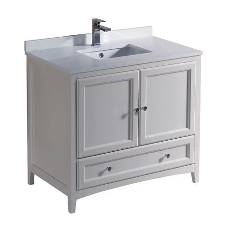 Fresca Oxford Antique White Traditional 36-inch Bathroom Cabinet With Countertop and Sink