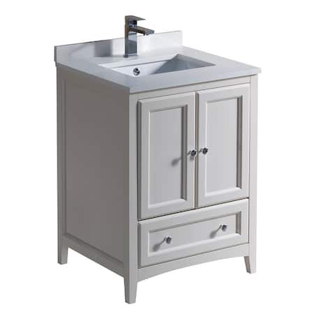 Fresca Oxford Antique White 24-inch Bathroom Cabinet with Countertop and Sinks