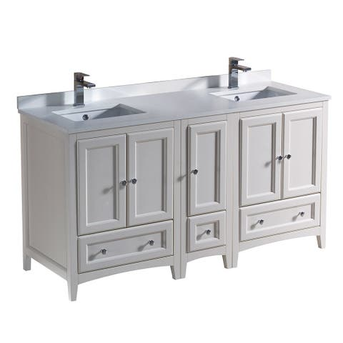 Fresca Oxford Antique White Traditional 60-inch Double Sink Bathroom Cabinets