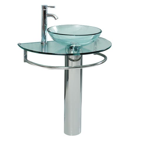 Fresca Attrazione Glass/Stainless Steel Bathroom Pedestal Sink