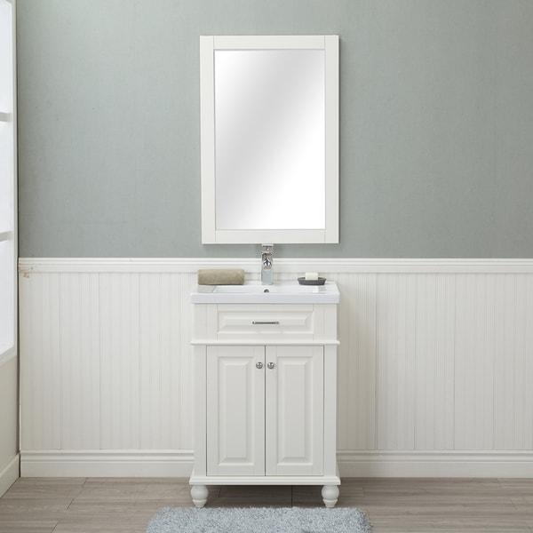 Alya Bath Lancaster White with Porcelain Top 24-inch Single Bathroom Vanity (Single Hole)