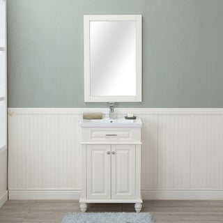 Alya Bath Lancaster White with Porcelain Top 24-inch Single Bathroom Vanity (Single Hole)