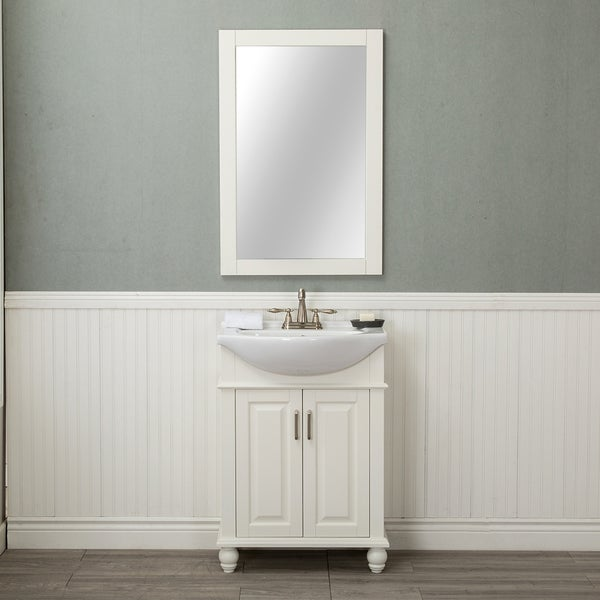 Alya Bath Lancaster White Wood/Porcelain Top 24-inch Centerset Single Bathroom Vanity