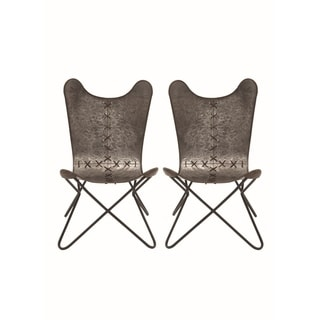 Studio 350 Iron Stitched Seam Slingback Chairs (Set of 2)