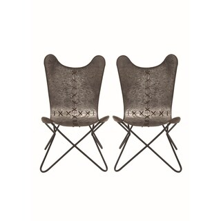 Studio 350 Set of 2, Metal Stitched Chair 23 inches wide, 38 inches high