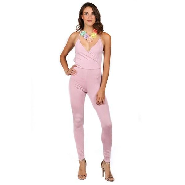 7077e154404 Shop Xehar Womens Surplice V-Neck Skinny Leg Jumpsuit - Free ...