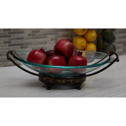 Traditional 5 x 17 Inch Iron and Glass Bowl Server by Studio 350