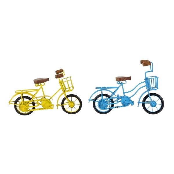 Copper Grove Chatfield Yellow and Blue Metal Wood Bicycles (Set of 2)