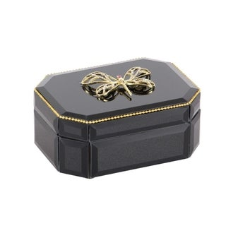 Silver Orchid Valkyrien Wood Dragonfly Black Glass Box (6 X 3)