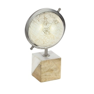 Studio 350 Metal Wood Marble Pu Globe 8 inches wide, 13 inches high