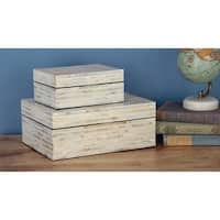 Studio 350 Wood Mop Box Set of 2, 8 inches, 12 inches wide