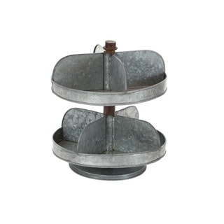 The Gray Barn Jartop Galv 2 Tier Tray Stand 12-inches wide, 13-inches high