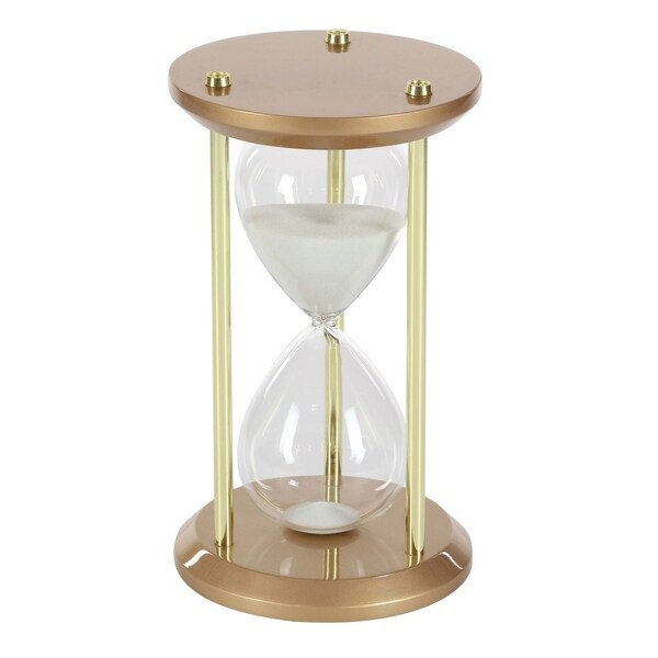 Studio 350 Wood Glass 60 Min Sand Timer 7 inches wide, 12 inches high
