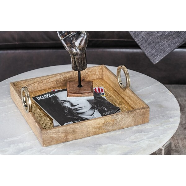 Studio 350 Wood Brass Square Tray Set of 2, 16 inches, 20 inches wide