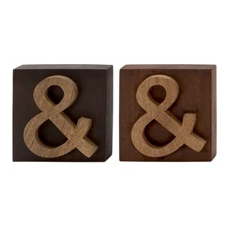 Studio 350 Wood Block Symbol Set of 2, 8 inches wide, 8 inches high