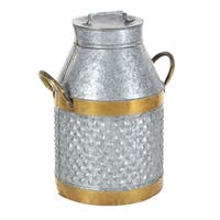The Gray Barn Jartop Galv Brass Milk Can 14-inches wide, 17-inches high