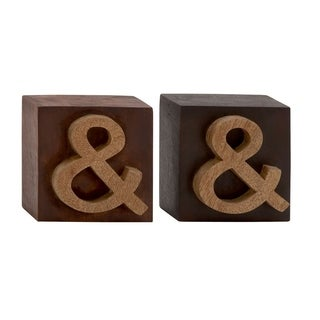 Studio 350 Wood Block Sign Set of 2, 6 inches wide, 6 inches high