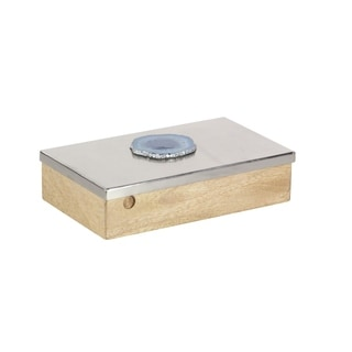 The Curated Nomad Chatfield Decorative Silver-finish Agate Accent Box