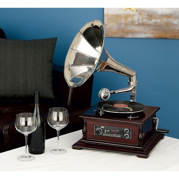 Studio 350 Wood Metal Gramophone 15 inches wide, 26 inches high
