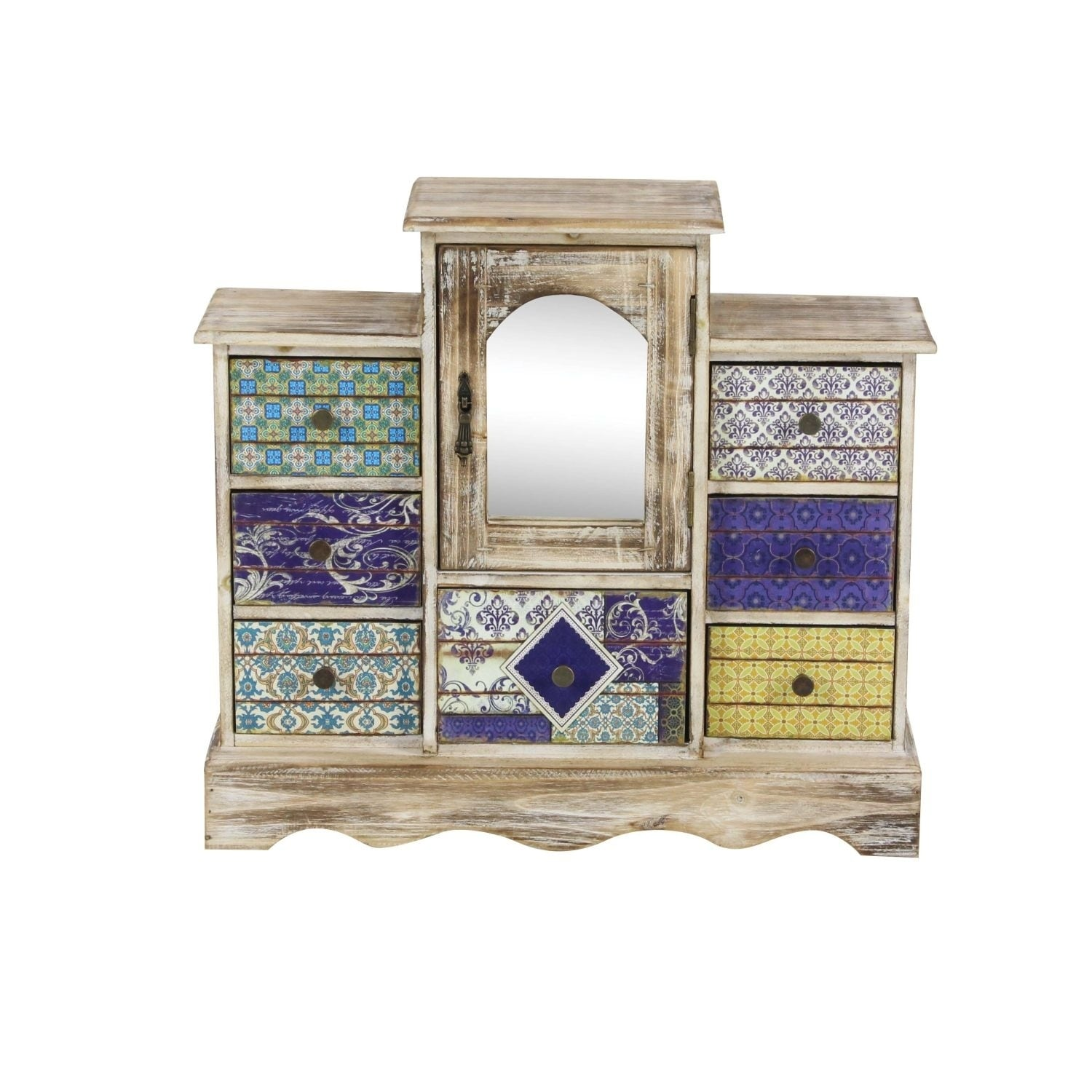 Studio 350 Wood Mirror Jewelry Chest 18 inches wide, 16 inches high