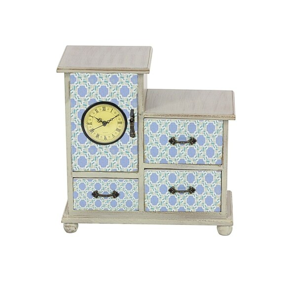 Studio 350 Wood Clock Jewelry Chest 11 inches wide, 11 inches high