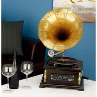 Studio 350 Wood Metal Gramophone 14 inches wide, 25 inches high