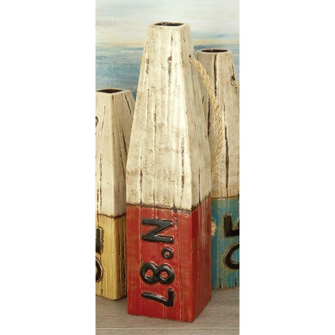 Studio 350 Ceramic Rope Bouy Vase 4 inches wide, 16 inches high