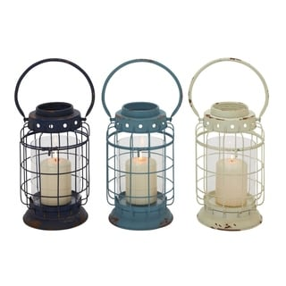 Studio 350 Metal Glass Lantern Set of 3, 6 inches wide, 15 inches high