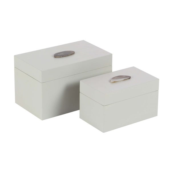 Silver Orchid Olivia Wood Agate Box Set of 2, 9 inches, 11 inches wide